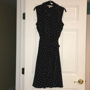 Black Polka-dotted Button-Down Dress
